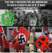 Precisely!  SHARE if you Agree and Don't forget to LIKE Us, Proud Democrat!: THE ONLY REASON FOR AN AMERICAN  TO HOLD A NAZI FLAG IS IF IT WAS  CAPTURED IN BATTLE Precisely!  SHARE if you Agree and Don't forget to LIKE Us, Proud Democrat!
