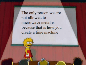 meirl: The only reason we are  not allowed to  microwave metal is  because that is how you  create a time machine meirl