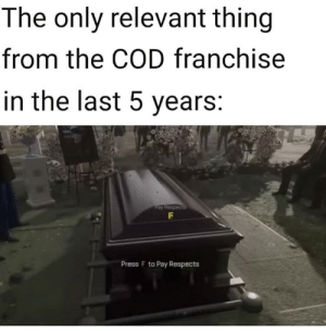 relevant: The only relevant thing  from the COD franchise  in the last 5 years:  Pay Respects  Press F to Pay Respects