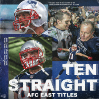 Memes, Nfl, and History: *THE ONLY TEAM IN NFL HISTORY TO WIN  6  2  THEIR DIVISION IN 10 CONSECUTIVE SEASONS  :2  IGHT  AFC EAST TITLES  NFL Dominance. #GoPats https://t.co/rkVijexZX2