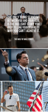 The Wolf of Wall Street: THE ONLY THING STANDING  BETWEEN YOU AND YOUR GOAL  IS THE BULLSHIT STORY YOU  KEEPTELLING YOURSELF AS TO  WHY YOU CAN'T ACHIEVE IT  THE WOLF OF WALL STREET The Wolf of Wall Street