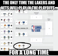 For a long time 😂 Who you got winning the Summer League? 🤔🏆 nbamemes nba_memes_24: THE ONLY TIME THE LAKERS AND  NETS WILLPLAYINTHE PLAYOFFS  POR  SAS  SEMIFINALS  July 16  24  SAS  FINALS  July 17  LAC  12  MIA  MEM  enba.memes 24  nence 24 SUMER  PHX  MEM  @nba memes 2  19  SAC  DAL  BOS  DAL  GSW  805  23R  Vs  DEN  BKN  8  15 AkRS  LAL  BKN  FOR A LONGTIME  LAL For a long time 😂 Who you got winning the Summer League? 🤔🏆 nbamemes nba_memes_24