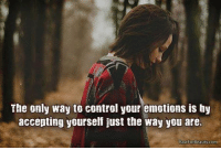 The only way to control your emotions is by  accepting yourself just the way you are.  awforBeauty.com The only way to control your emotions is by accepting yourself just the way you are. www.rawforbeauty.com