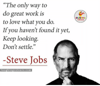 "Love, Steve Jobs, and Work: ""The only way to  do great work is  to love what you do.  If you haven't found it yet,  Keep looking  Don't settle.""  Steve Jobs  laughing colo urs .co m When it comes to Work, Do what you Love...:)"