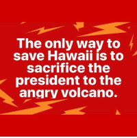 Hawaii, Volcano, and Angry: The only way to  save Hawaii is to  sacrifice the  president to the  angry volcano.