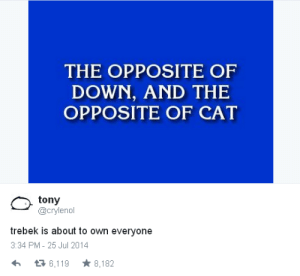 Cat, Down, and Own: THE OPPOSITE OF  DOWN, AND THE  OPPOSITE OF CAT  tony  @crylenol  trebek is about to own everyone  3:34 PM- 25 Jul 2014  6,119 8,182