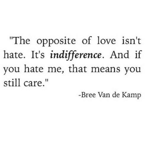 "Love, Hate Me, and Net: The opposite of love isn't  hate. if  you hate me, that means you  It's indifference. And  still care.""  -Bree Van de Kamp https://iglovequotes.net/"