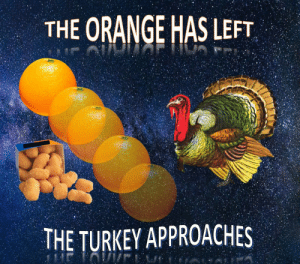 https://t.co/vE4rGhMb6U: THE ORANGE HAS LEFT  THE TURKEY APPROACHES https://t.co/vE4rGhMb6U