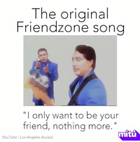 """The original  Friendzone song  """"I only want to be your  friend, nothing more.  mitu  YouTube Los Angeles Azules This song was literally meant for me... :("""