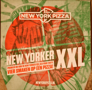 Just realised the Dutch New York Pizza box seems to have a (Statue of Liberty) weeping angel on it.: THE  ORIGINAL  NEW YORK PIZZA  XXL  NEW YORKER YXI  PROBEER NU OOK DE NEW YORKER XXL ALS FOUR TASTY.  VIER SMAKEN OP ÉÉN PIZZA!  NEWYORKPIZZA.NL Just realised the Dutch New York Pizza box seems to have a (Statue of Liberty) weeping angel on it.