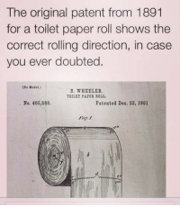 Case closed.: The original patent from 1891  for a toilet paper roll shows the  correct rolling direction, in case  you ever doubted  ONo Model.)  S. WHEELER.  TOILET PAPER ROLL.  No. 466,588.  Patented Deo. 22, 1891 Case closed.