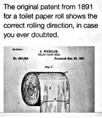 let the great debate begin - yea or nay...: The original patent from 1891  for a toilet paper roll shows the  correct rolling direction, in case  you ever doubted.  a 465,588  Patented Dea. 22, 1801 let the great debate begin - yea or nay...