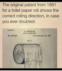 Paper, Patent, and Case: The original patent from 1891  for a toilet paper roll shows the  correct rolling direction, in case  you ever doubted.  (xo Model.)  S. WHEELER  TOILET PAPES ROLL  No. 466,588  Patented Deo. 22, 1891