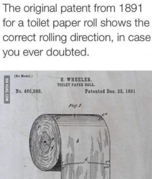 Mystery, Paper, and Patent: The original patent from 1891  for a toilet paper roll shows the  correct rolling direction, in case  you ever doubted.  (So Model.)  S. WHEELER  TOILET PAPER ROLL  No. 465,588.  Patented Deo. 22, 1891 Mystery Solved.