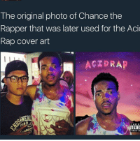 Chance the Rapper, Memes, and Rappers: The original photo of Chance the  Rapper that was later used for the Acid  Rap cover art  ACTOR AP  PAIEN  ADVISI  IPLICII CO 😎
