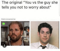 "Friend zone to end zone: The original ""You vs the guy she  tells you not to worry about""  @john.b.krasinski.fan Friend zone to end zone"