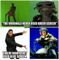 """They used to use blue screen back in the day😉 starwarsfacts: """"THE ORIGINALS NEVER USED GREEN SCREEN""""  @TheGoldClaw  YOURE RIGHT. THEY  USED BLUE SCREEN They used to use blue screen back in the day😉 starwarsfacts"""