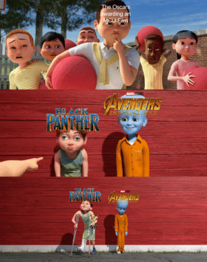 Keep up the Megamind hype (oc): The Oscars  awarding an  MCU Film  MARVEL STUDIOS  AZNdNS  BLACK  TY WA R  INF  PANTHER  BLACK  MARVEL STUDIOS  PANTHER AvaInens  INEINITY WAP  ARVEL Keep up the Megamind hype (oc)