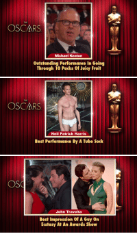 "Oscars, Target, and John Travolta: THE  OSCARS  Michael Keaton  Outstanding Performance In Going  Through 10 Packs Of Juicy Fruit   THE  OSCARS  Neil Patrick Harris  Best Performance By A Tube Sock   John Travolta  Best Impression Of A Guy On  Eestasy At An Awards Show <p><a href=""http://www.nbc.com/the-tonight-show/segments/113431"" target=""_blank"">&ldquo;There were a lot of Oscars given out last night, but people may not know this there&rsquo;s also a lot of other awards that they gave out after the ceremony ended&hellip;&rdquo;</a></p>"