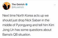 College Football, Kim Jong-Un, and Nick Saban: The Ostrich  @ALostrich  Next time North Korea acts up we  should just drop Nick Saban in the  middle of Pyongyang and tell him Kim  Jong Un has some questions about  Bama's QB situation.