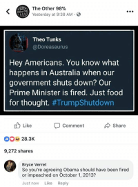 BV: The Other 98%  Yesterday at 9:38 AM.  Other98  Theo Tunks  @Doreasaurus  Hey Americans. You know what  happens in Australia when our  government shuts down? Our  Prime Minister is fired. Just food  for thought. #TrumpShutdown  Like  28.3K  9,272 shares  Comment  share  Bryce Verret  So you're agreeing Obama should have been fired  or impeached on October 1, 2013?  Just now Like Reply BV