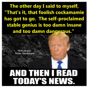 """Memes, News, and Rude: The other day I said to myself,  """"That's it, that foolish cockamamie  has got to go. The self-proclaimed  stable genius is too damn insane  and too damn dangerous.""""  FB/Rude and  Rotten Republicans  AND THEN I READ  TODAY'S NEWS. Tell them you found it at Rude and Rotten Republicans"""