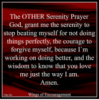 God, Love, and Memes: The OTHER Serenity Prayer  God, grant me the serenity to  stop beating myself for not doing  things perfectly, the courage to  forgive myself, because I'm  working on doing better, and the  wisdom to know that you love  me just the way I am  Amen  Wings of Encouragement