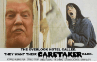 THE OVERLOOK HOTEL CALLED.  BACK.  THEY WANT THEIR  A STANLEY KUBRICK FILM DONALD TRUMP SHELLEY DUVALL THE SHINING IMAN CROTHERS DANNY LLOYD Here's Donny!!
