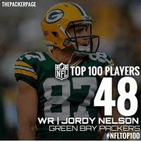 Jordy Nelson ranks 48th on NFL Network's Top 100 players of last season. Congrats, Jordy! Packers NFL NFLTop100 @nflnetwork @packers: THE PACKERPAGE  TOP 100 PLAYERS  NEL  48  WRIJORDY NELSON  GREEN BAY PACKERS  thNFLTOP100 Jordy Nelson ranks 48th on NFL Network's Top 100 players of last season. Congrats, Jordy! Packers NFL NFLTop100 @nflnetwork @packers
