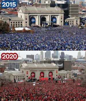 The parade when the Kansas City Royals won the World Series in 2015 vs the parade when the Kansas City Chiefs won the Super Bowl in 2020. Crazy to see how dedicated this city is.: The parade when the Kansas City Royals won the World Series in 2015 vs the parade when the Kansas City Chiefs won the Super Bowl in 2020. Crazy to see how dedicated this city is.