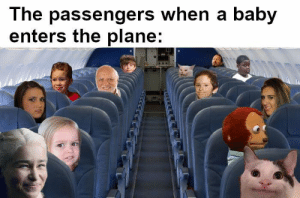 : The passengers when a baby  enters the plane: