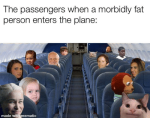 The struggle is real: The passengers when a morbidly fat  person enters the plane:  made with mematic  নম The struggle is real