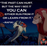 "Join Disney Fans <3: ""THE PAST CAN HURT.  BUT THE WAY I SEE IT  YOU CAN  EITHER RUN FROM IT  OR LEARN FROM IT.""  RAFIKI  DISNE  Quor Join Disney Fans <3"