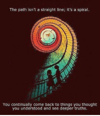 """Community, Facebook, and Memes: The path isn't a straight line; it's a spiral.  You continually come back to things you thought  you understood and see deeper truths The path isn't a straight line; it's a spiral. You continually come back to things you thought you understood to see deeper truths.""""  And round and round we go...  Pantheism: Everything is Connected, Everything is Divine Community: www.pantheism.com Facebook Group: www.facebook.com/groups/pantheism Recommended Reading List: http://bit.ly/pantheism_readinglist"""