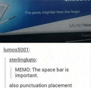 Tumblr, Penis, and Samsung: The penis, mightier than the finger.  GALAXY Note  Premic  lumos5001:  sterlingkato:  MEMO: The space bar is  important.  also punctuation placement Universal truths by Samsung