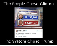Popular Memes: The People Chose Clinton  POPULAR VOTE TOTAL  PRESIDENT  59,795,904  CLINTON  59,589,137  Donald J. Trump  Follow  @realDonald Trump  The electoral college is a disaster for a democracy.  11:45 PM-6 Nov 2012  ta 91,274 59,484  The System Chose Trump