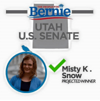 BREAKING: Misty Kathrine Snow, a Bernie Sanders supporter, is the projected winner of the Utah Senate Primary!  She will be the first transgender candidate for US Senate.: THE PEOPLE FOR  Bernie  UTAH  U.S. SENATE  Misty K  Snow  PROJECTED WINNER BREAKING: Misty Kathrine Snow, a Bernie Sanders supporter, is the projected winner of the Utah Senate Primary!  She will be the first transgender candidate for US Senate.