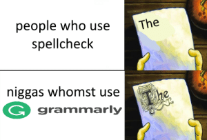 breaktime: The  people who use  spellcheclk  niggas whomst usee  G grammarly breaktime