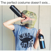 Funny, Halloween, and Memes: The perfect costume doesn't exis  NO  M I Halloween costume handled🦖🍷😂 If you are not following my fav store for hilarious graphic tees @everfitte you must! ♥️ Use code SARCASM at checkout to get 15% off your entire order today! 🍹 @everfitte @everfitte @everfitte
