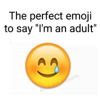 "I'm doing fine....: The perfect emoji  to say ""I'm an adult"" I'm doing fine...."