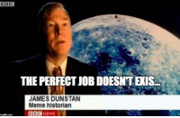 Meme, Job, and James: THE PERFECT JOB DOESNT EXIS.  JAMES DUNSTAN  Meme historian Thats really interesting
