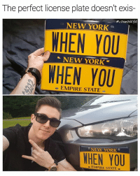 Empire, Life, and Memes: The perfect license plate doesn't exis-  cosmoskyle  WHEN YOU  WHEN YOU  NEW YORK  NEW YORK  EMPIRE STATE  NEW YORK  WHEN YOU  EMPIRE STATE When you... Have no life 😩 who's man