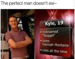 "Dank, Memes, and Target: The perfect man doesn't exi-  Kyle, 19  nicknamed  Nugget""  e loves  Hannah Montana  .cries all the time You may not like it, but this is peak performance by SSJ4Autism MORE MEMES"