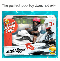"Click, Meme, and Memes: The perfect pool toy does not exi-  avage  eme  AGES  1  adam.the.creator  Jetski Jigga  TM  1 remote-controlled jet ski toy with remote  MADE WITH MOMUS Sponsored by Savage Meme Toyz (click link in bio to order) ad @tank.sinatra named this ""Jetski Jigga""🏆😂"