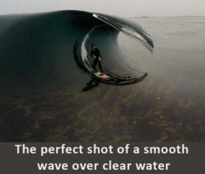 Smooth, Water, and Wave: The perfect shot of a smooth  wave over clear water The perfect shot doesnt exi..