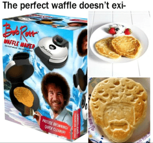awesomacious:  The best waffle: The perfect waffle doesn't exi-  AFAER  PRECISE BROWNINGI  QUICK CLEANUP! awesomacious:  The best waffle