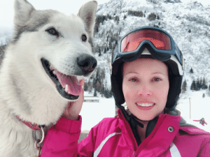 Husky, Italy, and  Skiing: The perks of being near a husky farm while skiing in Italy.