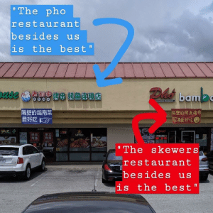 "Wholesome Restaurants: The pho  restaurant  besides us  is the best  Dh bamas  Vietnmee Raataurani  隔壁的越南菜  最好吃  隔壁的烤鱼烤串  國最好吃  Cren  绝味  烤鱼  東北  烤串  SAPPURO  A  ""The skewers  restaurant  INTB15  besides us  is the best"" Wholesome Restaurants"