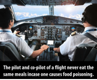 Memes, Flight, and Food Poisoning: The pilot and co-pilot of a flight never eat the  same meals incase one causes food poisoning