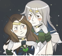 Sailor Moon, Target, and Tumblr: the-plague-doctors:  GAYBIES IN SPACEaustria as sailor neptune, prussia as sailor uranus, ofc inspired by this TOO GOOD, TOO PURE postby@auspru(based on this pic)